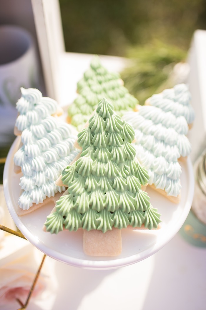 Christmas Tree Cookies from a Dreamy Hot Cocoa Holiday Party on Kara's Party Ideas | KarasPartyIdeas.com (10)