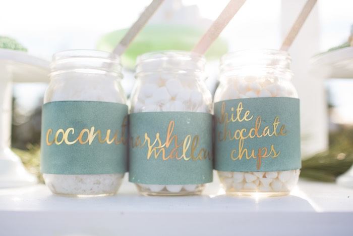 Hot cocoa toppings in jars from a Dreamy Hot Cocoa Holiday Party on Kara's Party Ideas | KarasPartyIdeas.com (8)