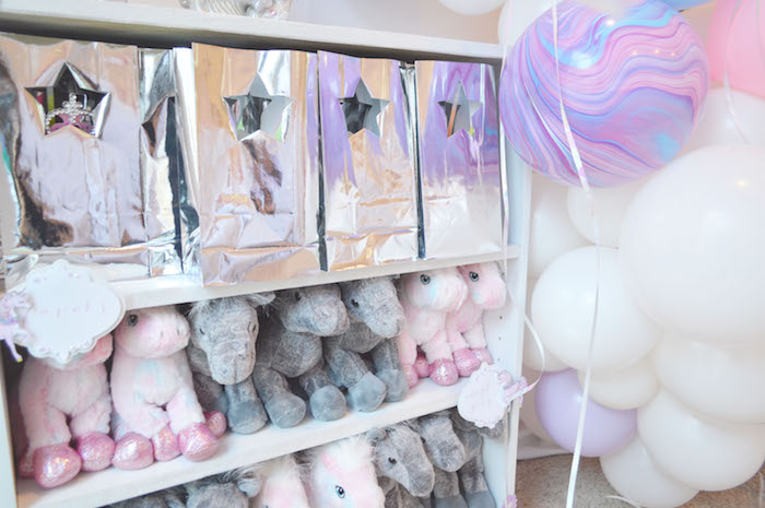 Silver star gift bags + plush unicorn favors from an Elegant Pastel Unicorn Soiree on Kara's Party Ideas | KarasPartyIdeas.com (23)