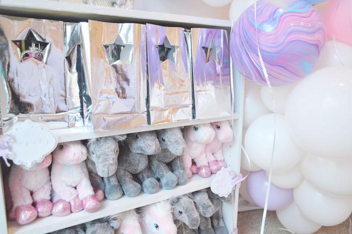 Silver star gift bags + plush unicorn favors from an Elegant Pastel Unicorn Soiree on Kara's Party Ideas | KarasPartyIdeas.com (23)