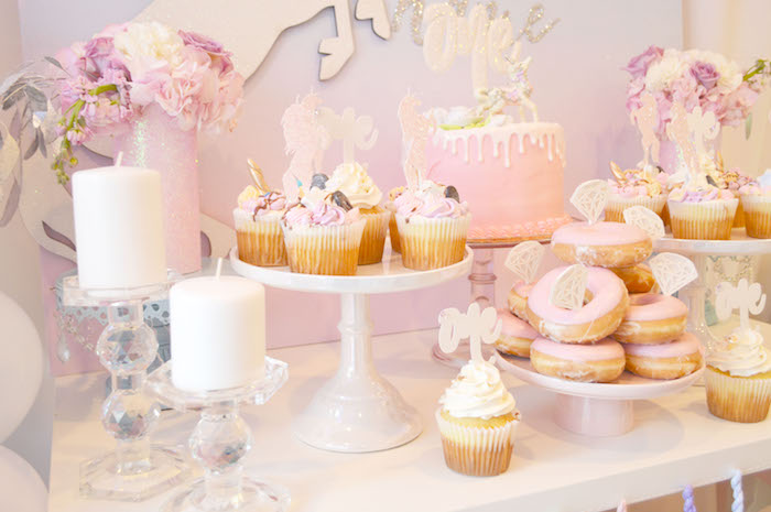 Cake, cupcakes and doughnuts from an Elegant Pastel Unicorn Soiree on Kara's Party Ideas | KarasPartyIdeas.com (22)