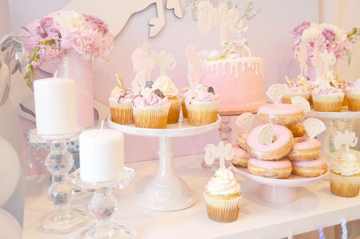 Cake, cupcakes and doughnuts from an Elegant Pastel Unicorn Soiree on Kara's Party Ideas | KarasPartyIdeas.com (22)