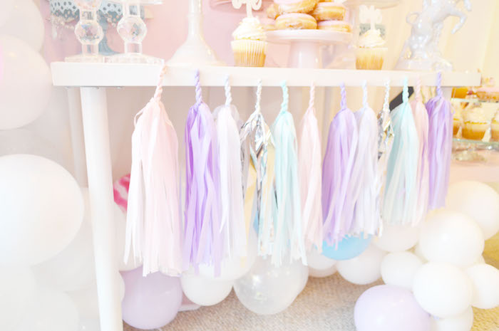 Balloons & tassel garland bunting from an Elegant Pastel Unicorn Soiree on Kara's Party Ideas | KarasPartyIdeas.com (21)