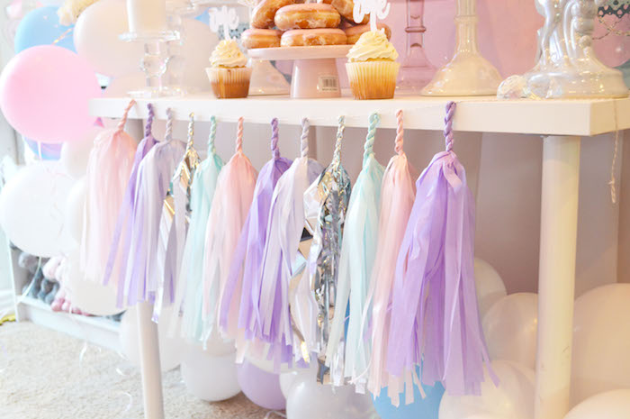 Balloons & tassel garland bunting from an Elegant Pastel Unicorn Soiree on Kara's Party Ideas | KarasPartyIdeas.com (20)