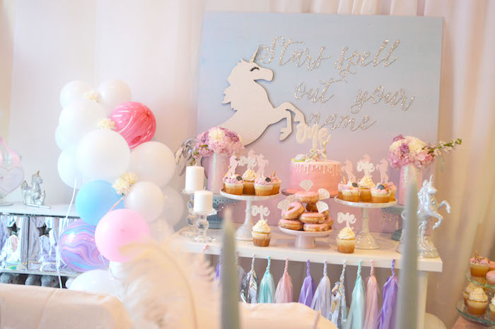 Unicorn party table from an Elegant Pastel Unicorn Soiree on Kara's Party Ideas | KarasPartyIdeas.com (18)