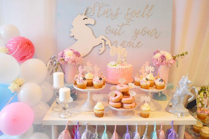 Unicorn dessert table from an Elegant Pastel Unicorn Soiree on Kara's Party Ideas | KarasPartyIdeas.com (16)