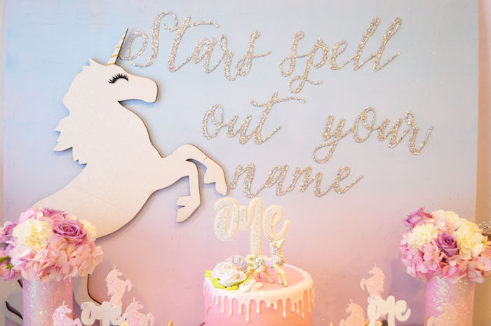 Unicorn dessert table backdrop from an Elegant Pastel Unicorn Soiree on Kara's Party Ideas | KarasPartyIdeas.com (15)