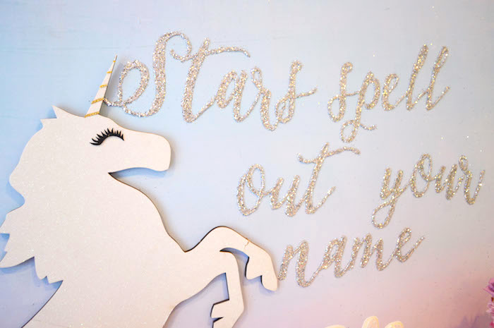 Unicorn party backdrop from an Elegant Pastel Unicorn Soiree on Kara's Party Ideas | KarasPartyIdeas.com (12)