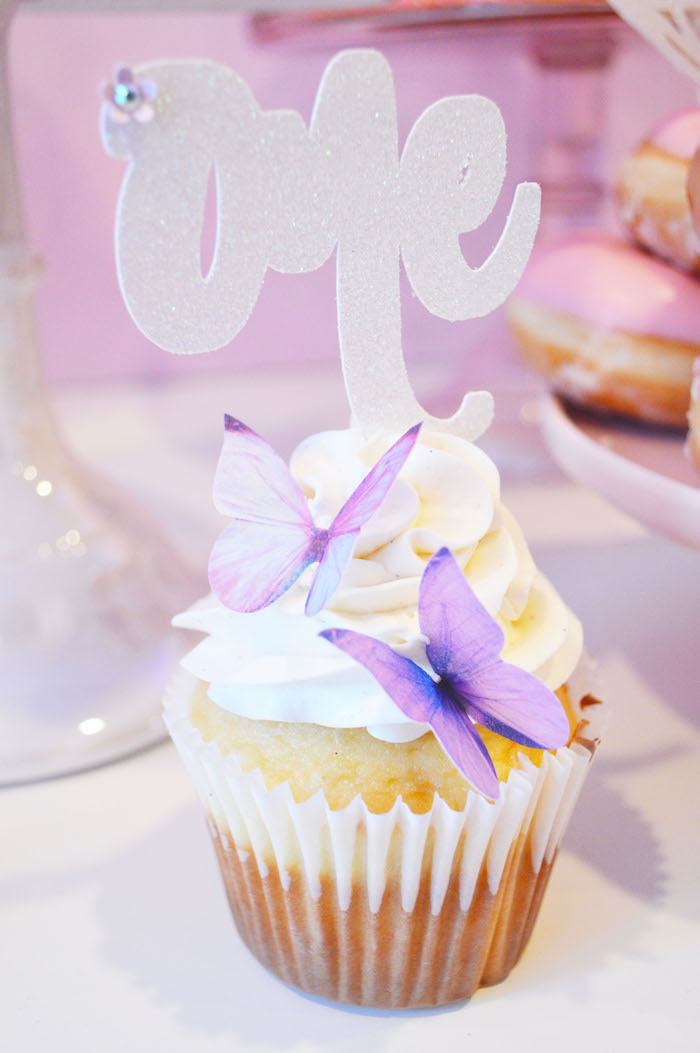 Butterfly cupcake from an Elegant Pastel Unicorn Soiree on Kara's Party Ideas | KarasPartyIdeas.com (10)