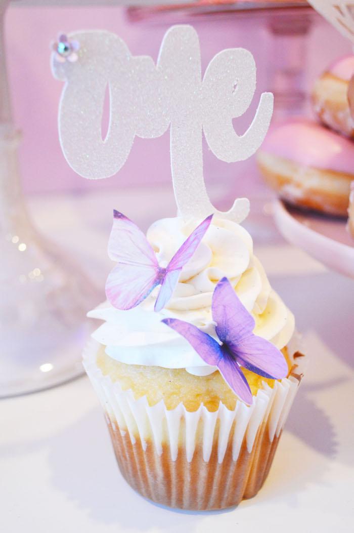 Butterfly cupcake from an Elegant Pastel Unicorn Soiree on Kara's Party Ideas | KarasPartyIdeas.com (10)