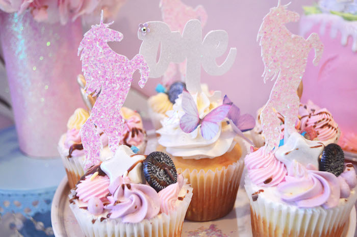 Unicorn cupcakes from an Elegant Pastel Unicorn Soiree on Kara's Party Ideas | KarasPartyIdeas.com (9)