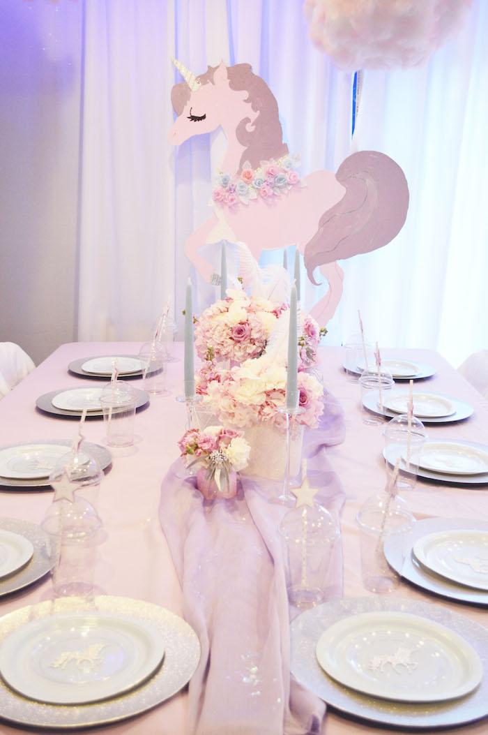 Unicorn guest table from an Elegant Pastel Unicorn Soiree on Kara's Party Ideas | KarasPartyIdeas.com (8)