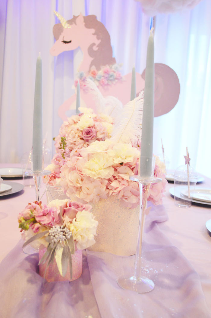 Flower & candlestick centerpieces from an Elegant Pastel Unicorn Soiree on Kara's Party Ideas | KarasPartyIdeas.com (7)