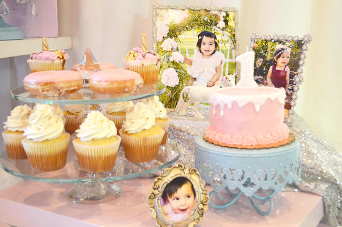 Cake table from an Elegant Pastel Unicorn Soiree on Kara's Party Ideas | KarasPartyIdeas.com (34)