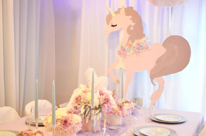 Unicorn table decoration from an Elegant Pastel Unicorn Soiree on Kara's Party Ideas | KarasPartyIdeas.com (5)