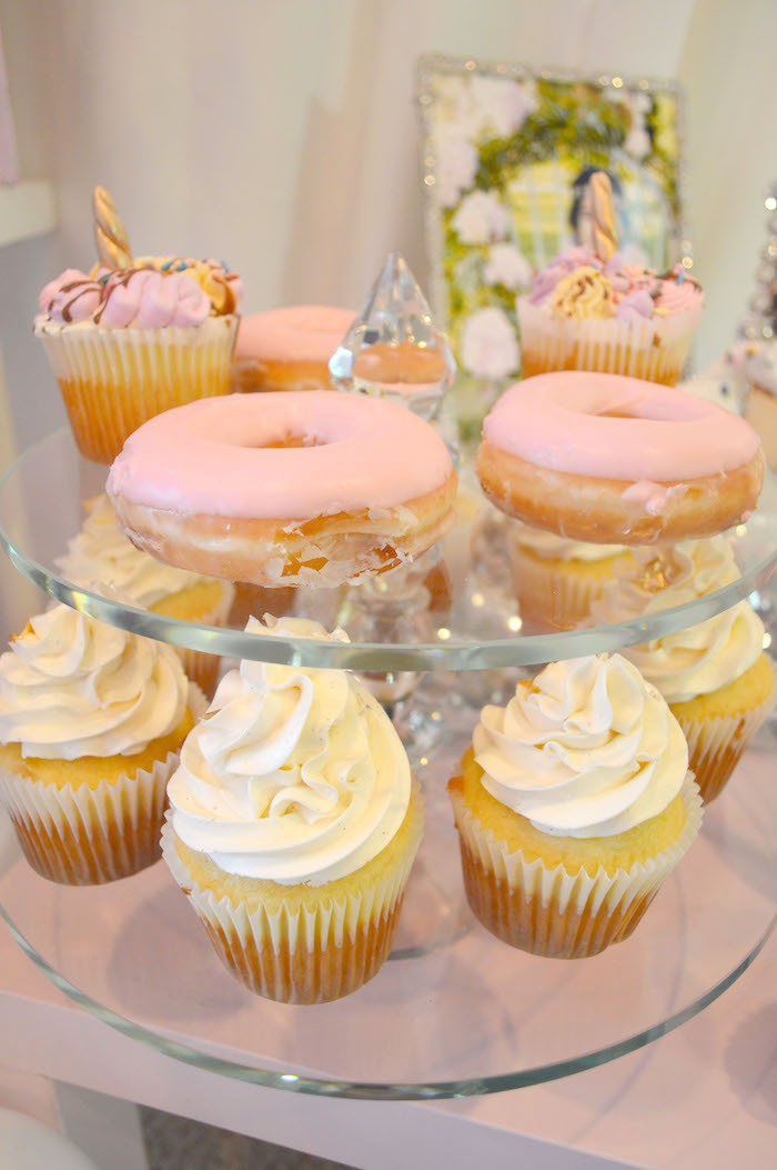 Doughnuts & cupcakes from an Elegant Pastel Unicorn Soiree on Kara's Party Ideas | KarasPartyIdeas.com (33)