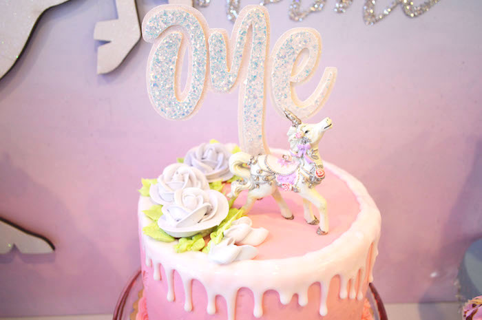 Unicorn cake top from an Elegant Pastel Unicorn Soiree on Kara's Party Ideas | KarasPartyIdeas.com (32)