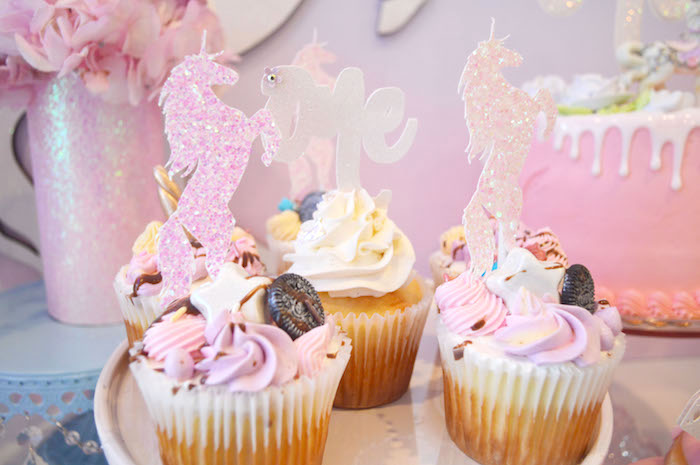 Shimmering unicorn cupcakes from an Elegant Pastel Unicorn Soiree on Kara's Party Ideas | KarasPartyIdeas.com (31)