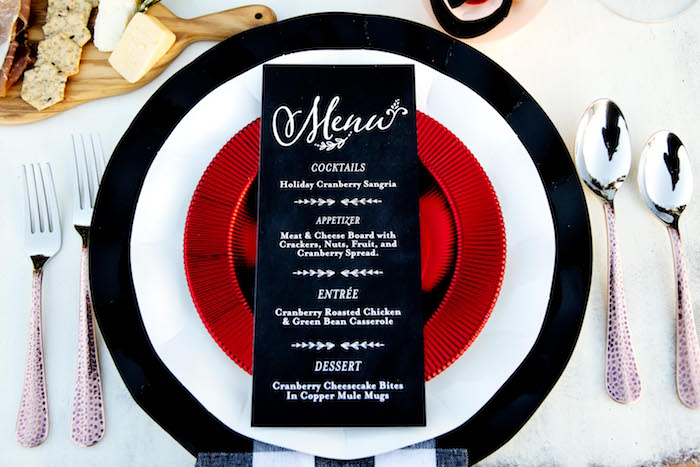 Menu card + place setting from a Favorite Things Holiday Dinner Party on Kara's Party Ideas | KarasPartyIdeas.com (13)