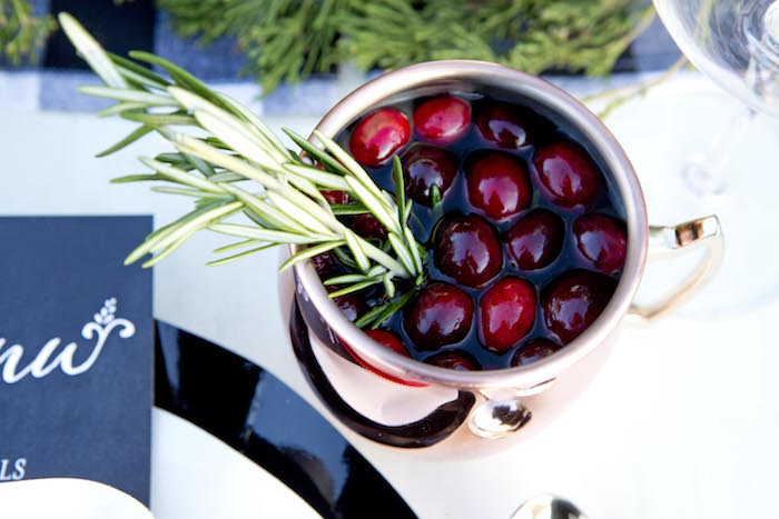 Cranberry drinks with pine tree sprigs from a Favorite Things Holiday Dinner Party on Kara's Party Ideas | KarasPartyIdeas.com (20)