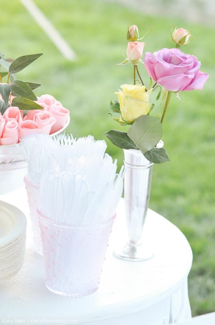 Utensils at a floral chic baby blessing luncheon by Kara Allen | Kara's Party Ideas LDS Blessing Ideas with FREE printables