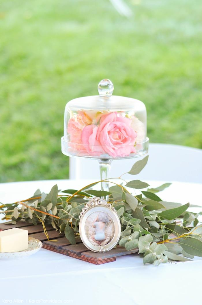 Greenery and frame centerpiece at a floral chic baby blessing luncheon by Kara Allen | Kara's Party Ideas LDS Blessing Ideas with FREE printables