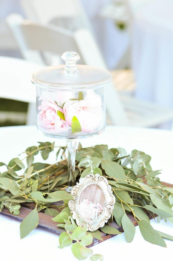 Centerpiece at a floral chic baby blessing luncheon by Kara Allen | Kara's Party Ideas LDS Blessing Ideas with FREE printables