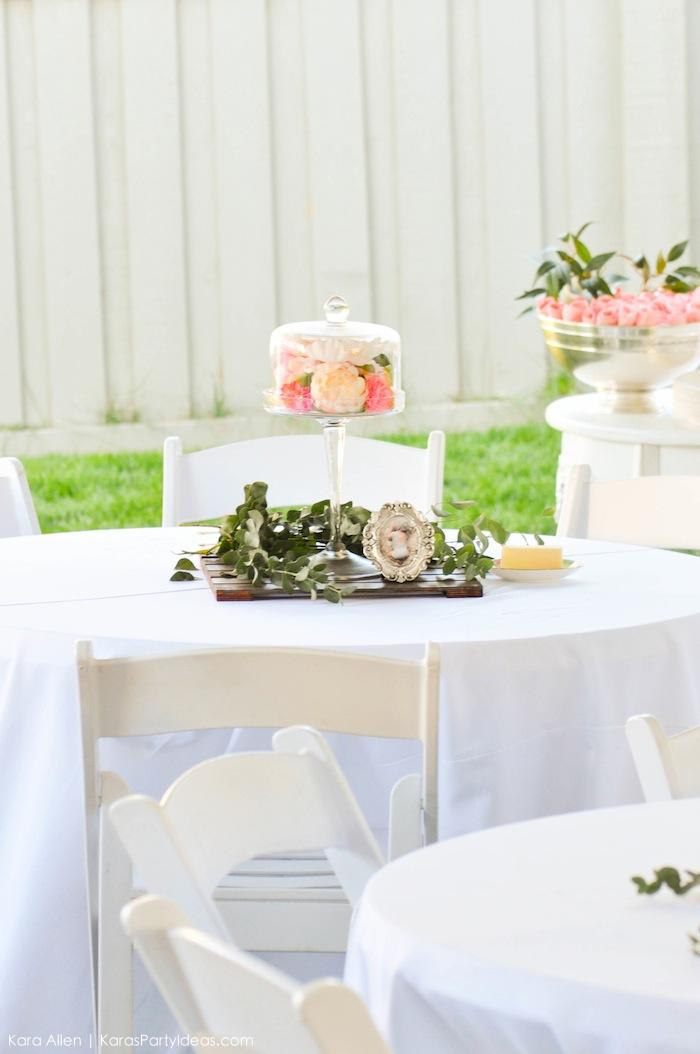 Centerpieces and tables at a floral chic baby blessing luncheon by Kara Allen | Kara's Party Ideas LDS Blessing Ideas