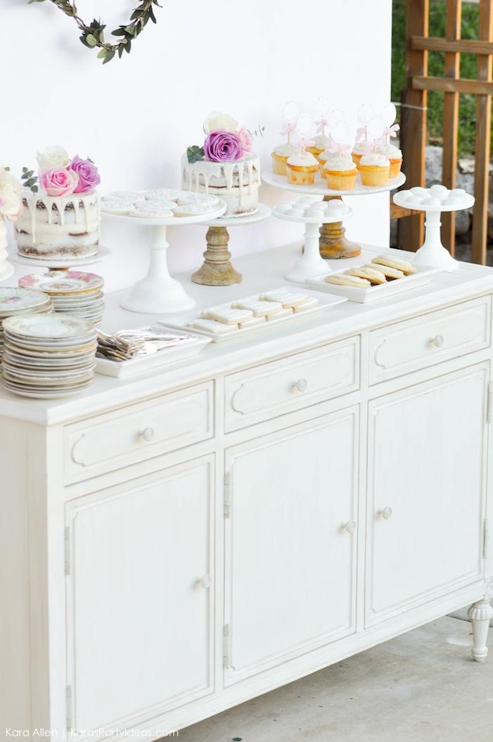 Dessert table. Floral chic baby blessing luncheon by Kara Allen | Kara's Party Ideas LDS Blessing Ideas with FREE printables