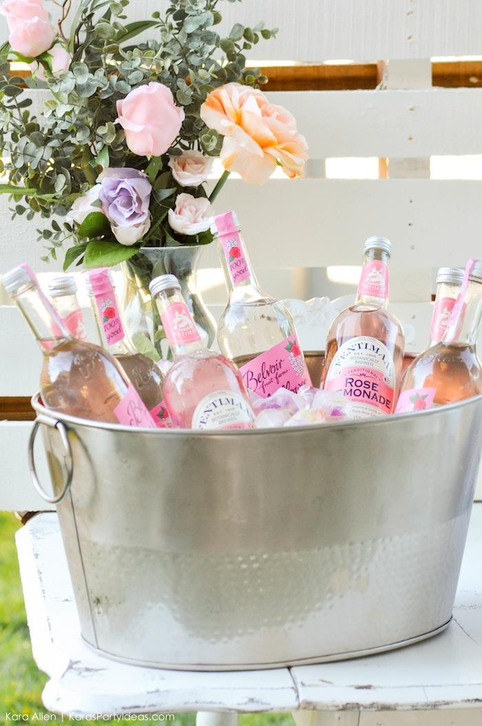 Drinks at a floral chic baby blessing luncheon by Kara Allen | Kara's Party Ideas LDS Blessing Ideas with FREE printables