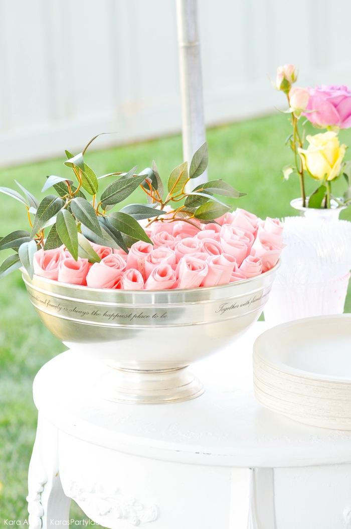 DIY Rose Napkins! Floral chic baby blessing luncheon by Kara Allen | Kara's Party Ideas LDS Blessing Ideas with FREE printables