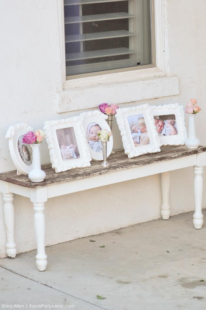 Flower frames. Floral chic baby blessing luncheon by Kara Allen | Kara's Party Ideas LDS Blessing Ideas with FREE printables