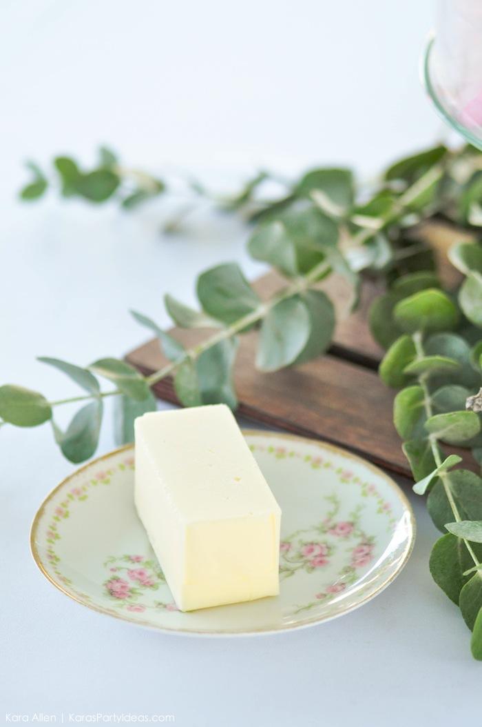 Vintage plate and butter at a floral chic baby blessing luncheon by Kara Allen | Kara's Party Ideas LDS Blessing Ideas with FREE printables