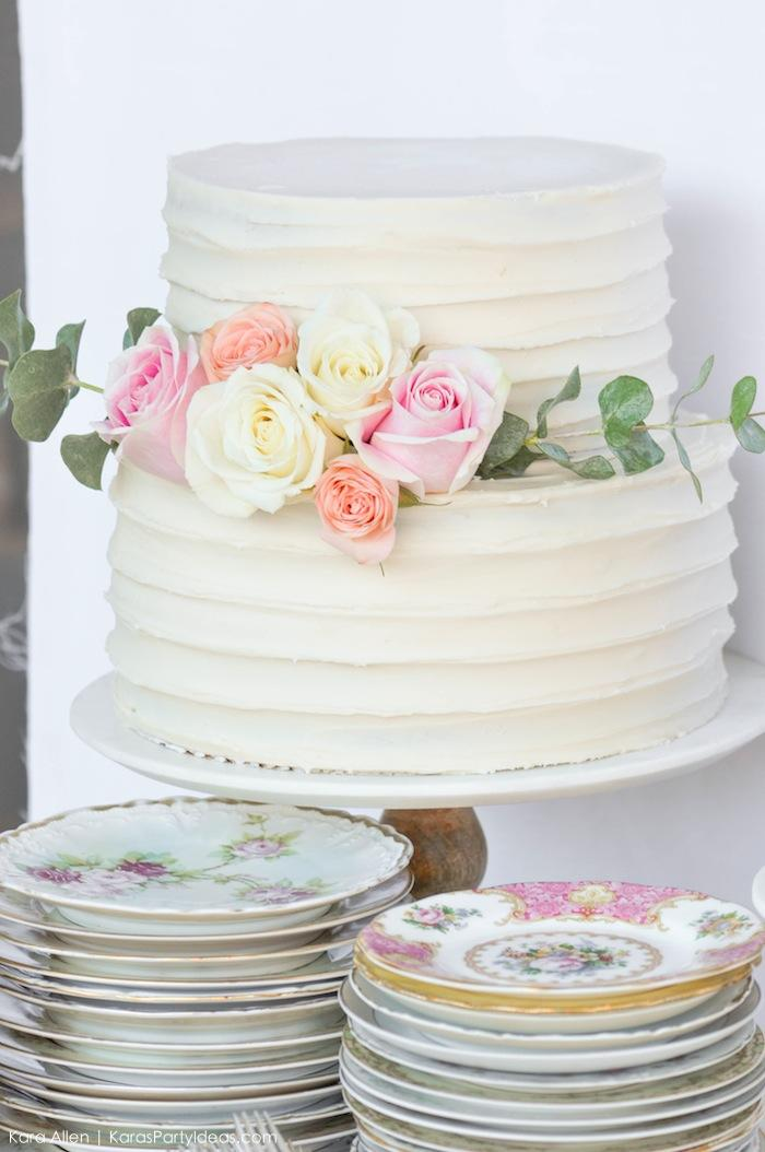 Beautiful cake at a floral chic baby blessing luncheon by Kara Allen | Kara's Party Ideas LDS Blessing Ideas