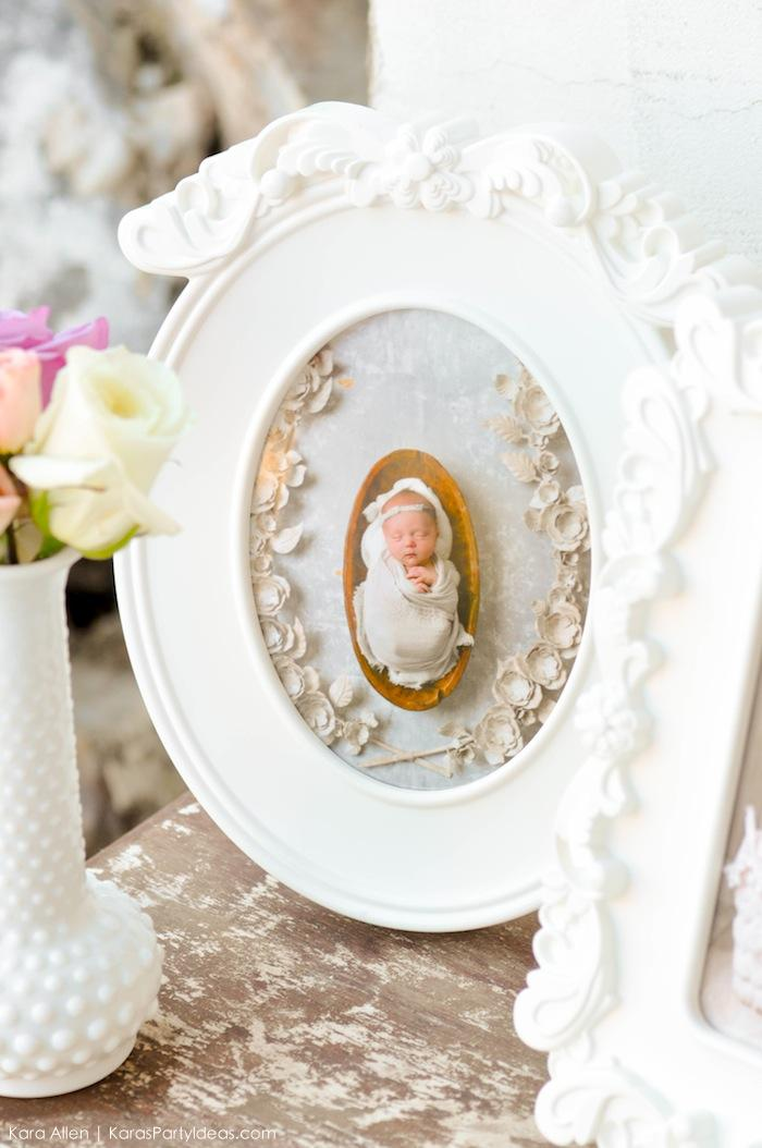 Flower white frame. Floral chic baby blessing luncheon by Kara Allen | Kara's Party Ideas LDS Blessing Ideas with FREE printables