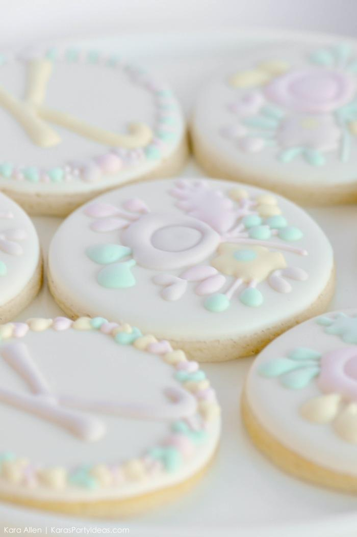 Flower sugar cookies. Floral chic baby blessing luncheon by Kara Allen | Kara's Party Ideas LDS Blessing Ideas with FREE printables