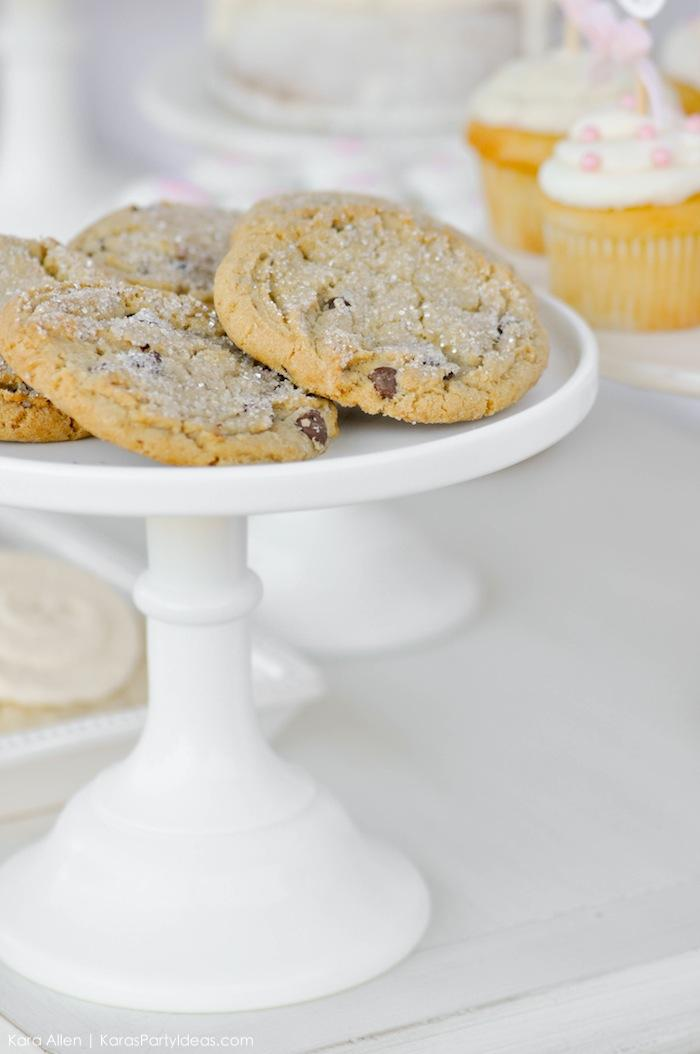 Frosted chocolate chip cookies. Floral chic baby blessing luncheon by Kara Allen | Kara's Party Ideas LDS Blessing Ideas with FREE printables