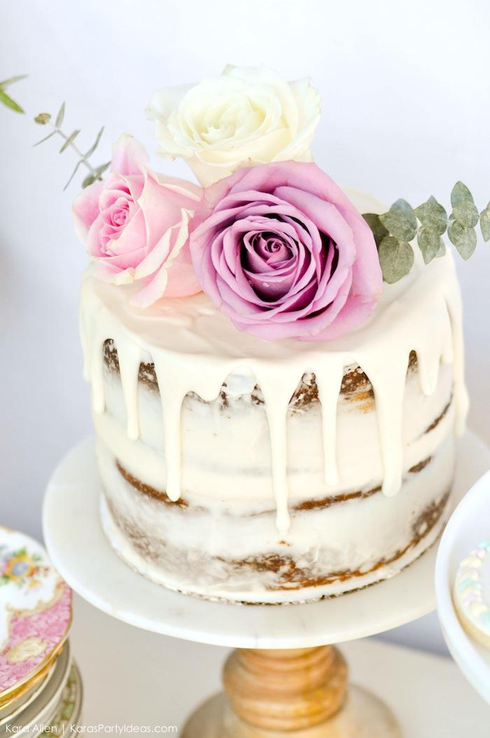 Roses on naked cake. Floral chic baby blessing luncheon by Kara Allen | Kara's Party Ideas LDS Blessing Ideas with FREE printables