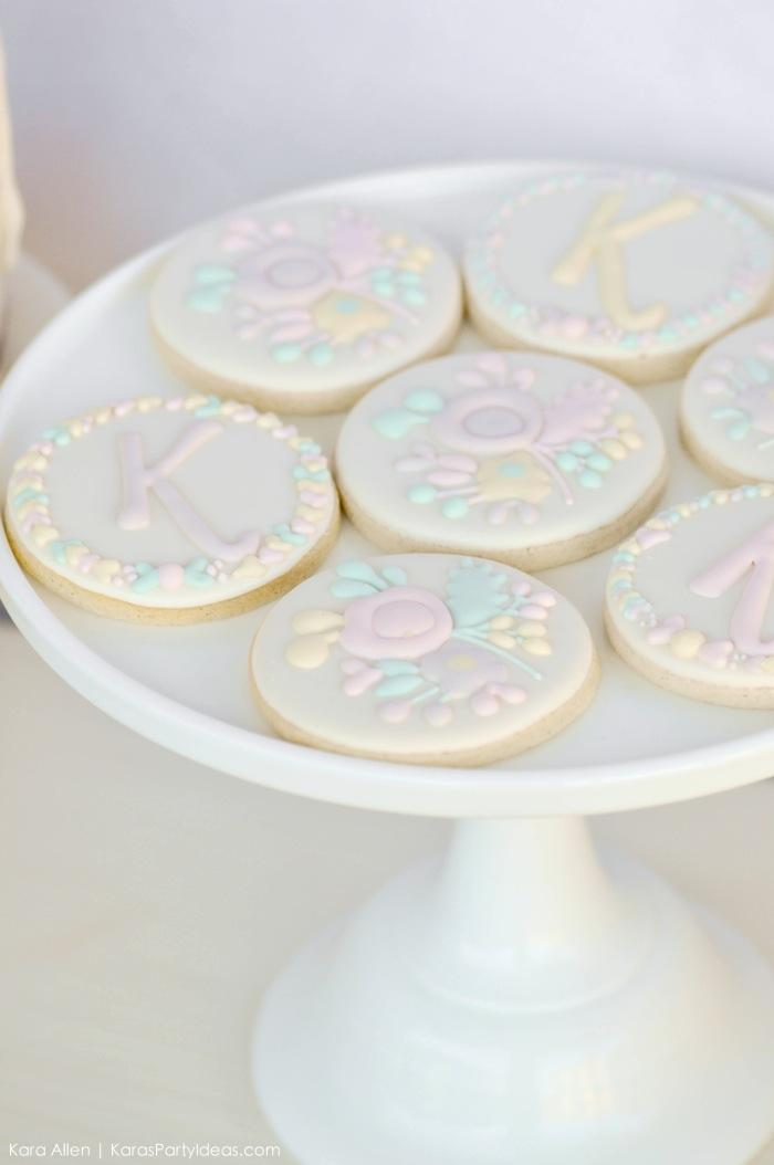 Cookies at a floral chic baby blessing luncheon by Kara Allen | Kara's Party Ideas LDS Blessing Ideas with FREE printables