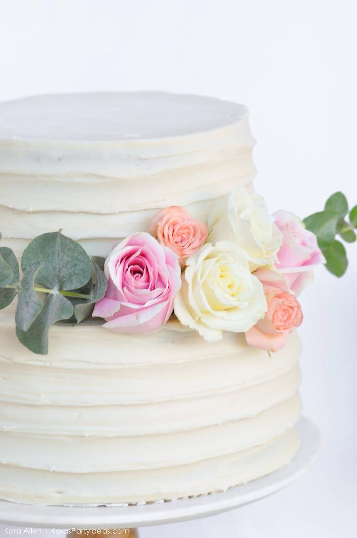 Real flowers | roses on cake. Floral chic baby blessing luncheon by Kara Allen | Kara's Party Ideas LDS Blessing Ideas with FREE printables