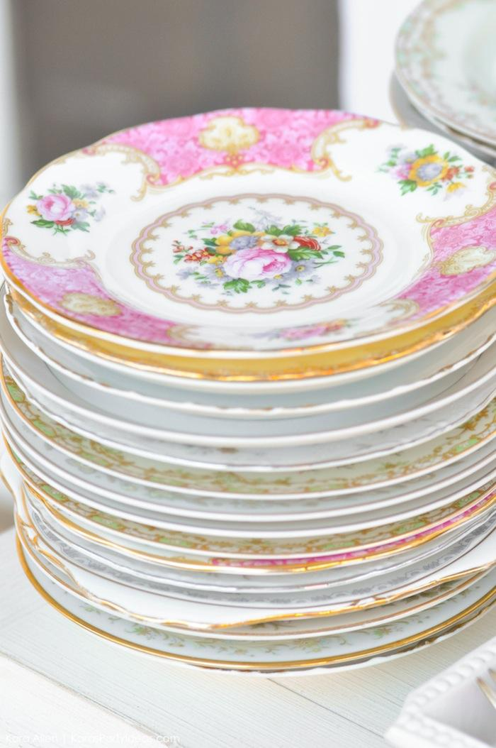 Vintage tea set plates. Floral chic baby blessing luncheon by Kara Allen | Kara's Party Ideas LDS Blessing Ideas with FREE printables