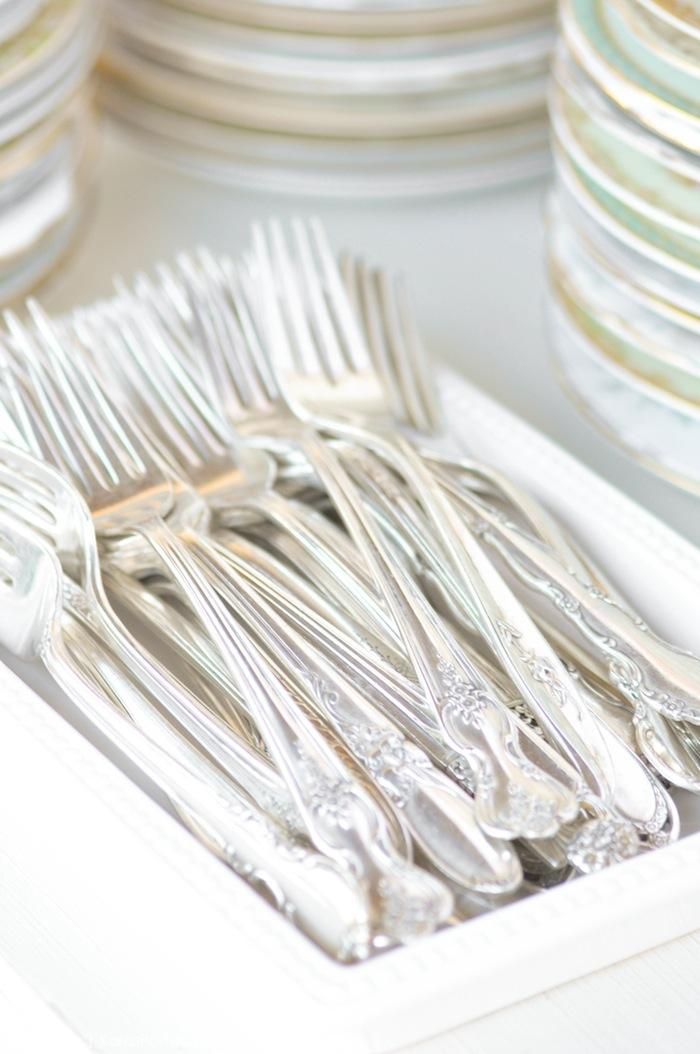 Vintage silver forks flatware at a floral chic baby blessing luncheon by Kara Allen | Kara's Party Ideas LDS Blessing Ideas with FREE printables