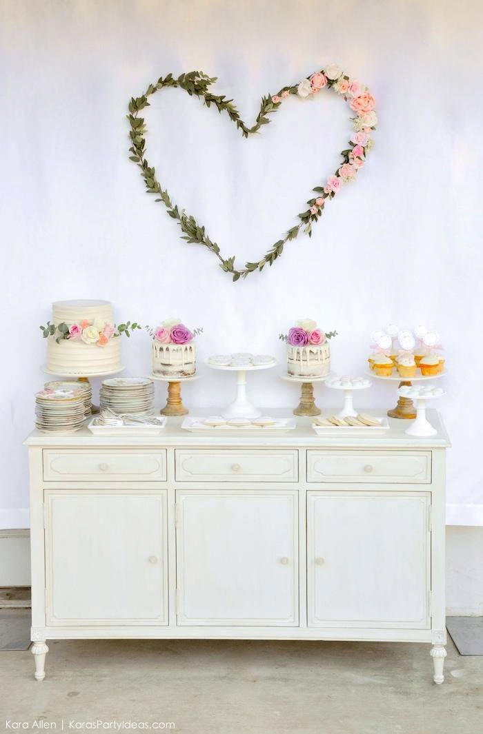 Gorgeous dessert table. Floral chic baby blessing luncheon by Kara Allen | Kara's Party Ideas LDS Blessing Ideas with FREE printables