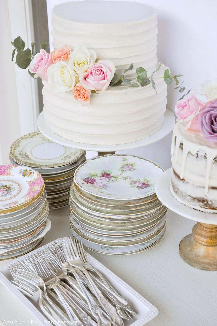 Vintage tea plates & cake at a Floral chic baby blessing luncheon by Kara Allen | Kara's Party Ideas LDS Blessing Ideas with FREE printables
