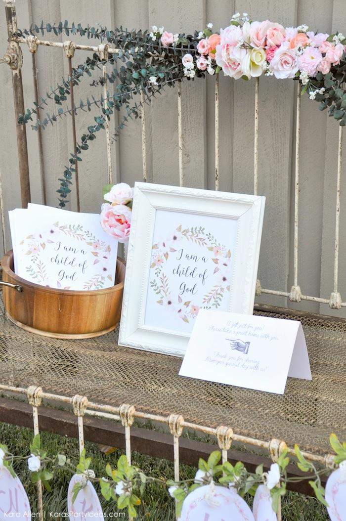I am a child of God print party favors. Floral chic baby blessing luncheon by Kara Allen | Kara's Party Ideas LDS Blessing Ideas with FREE printables