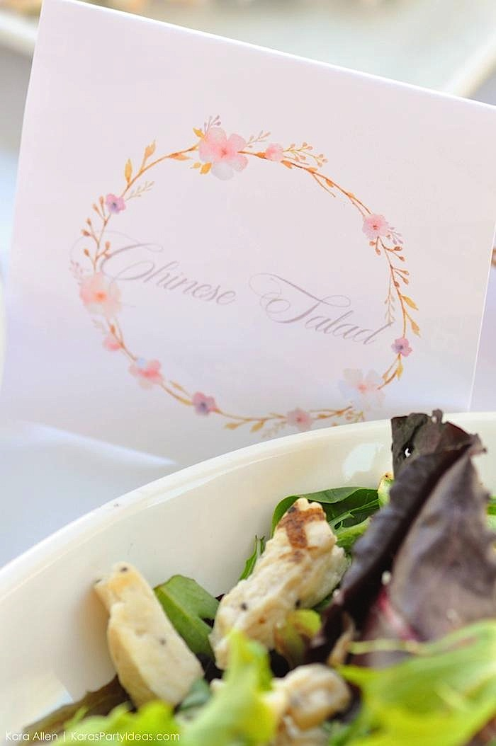 FREE floral wreath place cards food labels floral chic baby blessing luncheon by Kara Allen | Kara's Party Ideas LDS Blessing Ideas with FREE printables