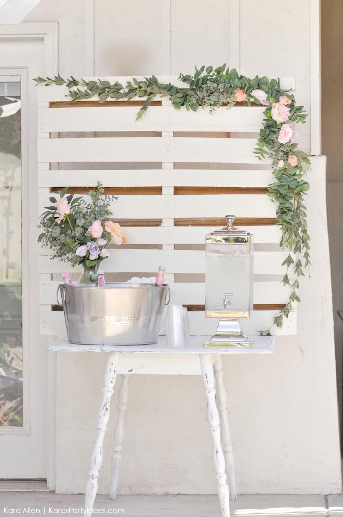 Drink station | table at a floral chic baby blessing luncheon by Kara Allen | Kara's Party Ideas LDS Blessing Ideas
