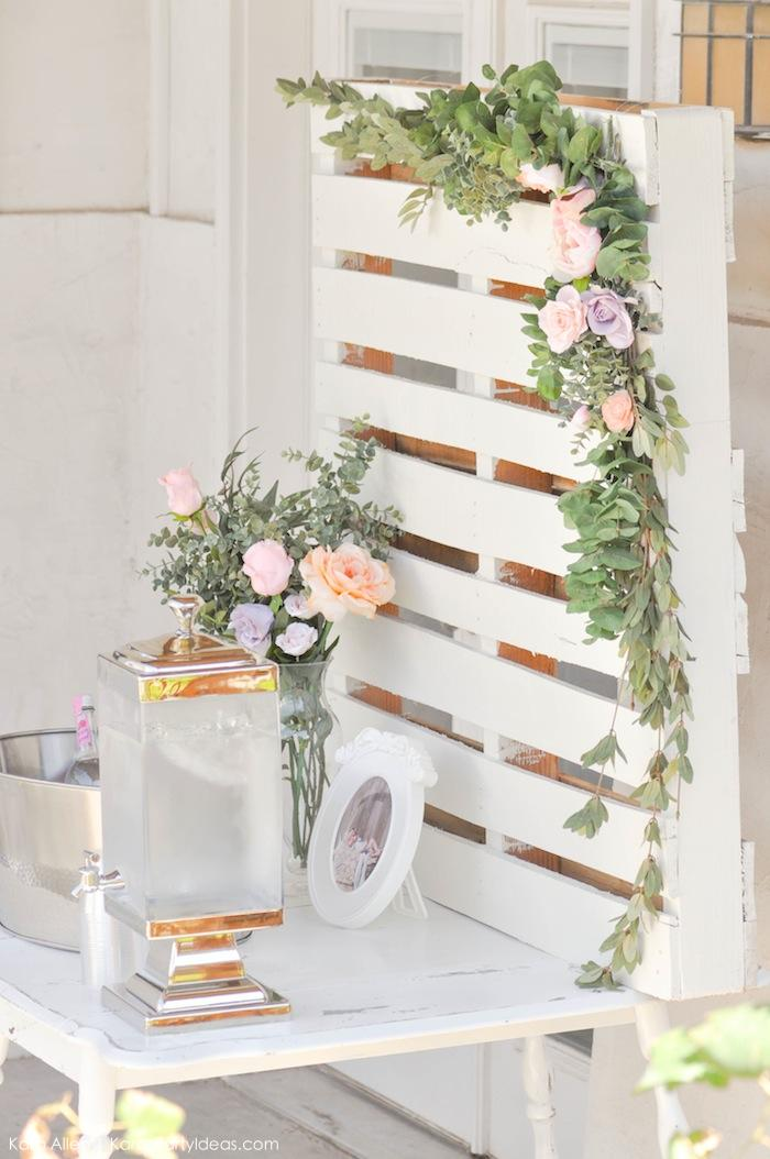 Palet backdrop. Floral chic baby blessing luncheon by Kara Allen | Kara's Party Ideas LDS Blessing Ideas with FREE printables