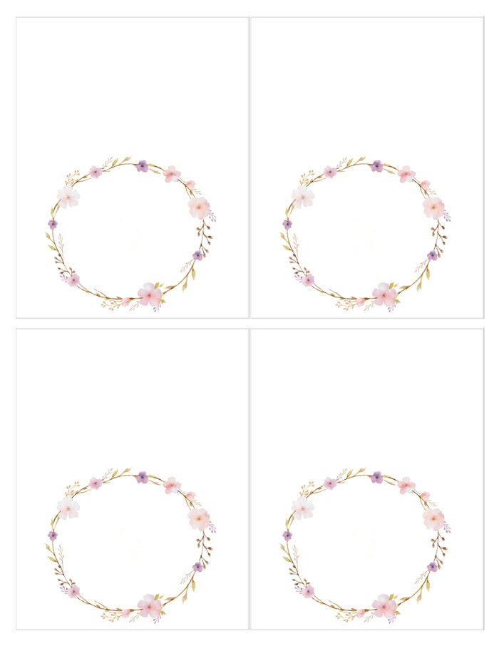 FREE flower wreath place cards. Floral chic baby blessing luncheon by Kara Allen | Kara's Party Ideas LDS Blessing Ideas with FREE printables
