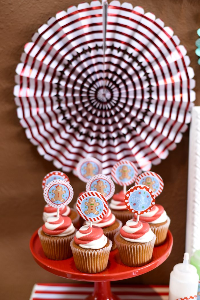 Red striped candy cane cupcakes from a Gingerbread Decorating Holiday Christmas Party on Kara's Party Ideas | KarasPartyIdeas.com (37)
